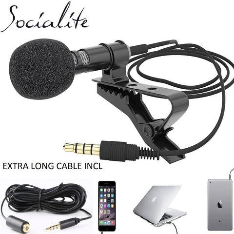 Socialite Microphone - Professional Grade Studio Quality Clip-on Lapel Lavalier Mic