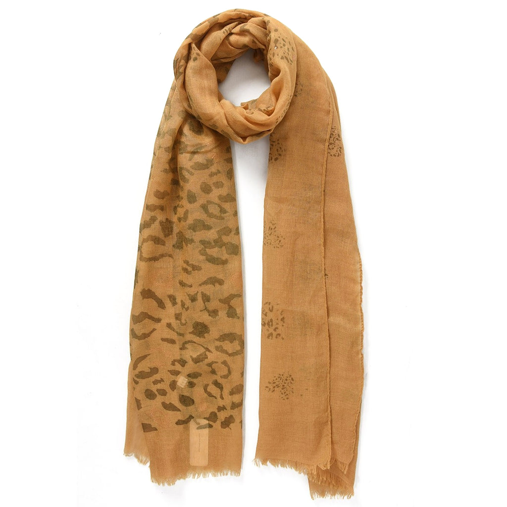 Mustard & rose gold leopard print scarf
