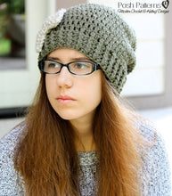 Load image into Gallery viewer, crochet slouchy hat and bow pattern