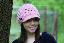 Load image into Gallery viewer, crochet pattern newsboy hat