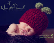 Load image into Gallery viewer, crochet baby apple hat pattern