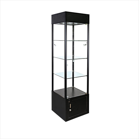 Square glass tower display showcase cabinet with light - StoreFixtureShowcase.com