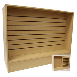 Retail Checkout Counter 72 Inch with Slatwall Front Maple