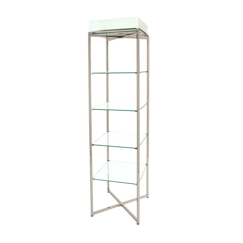 Glass Display Unit - 68 X 18 X 18 Inch Chrome or Brushed Chrome Folding Glass Tower with Sign Holder
