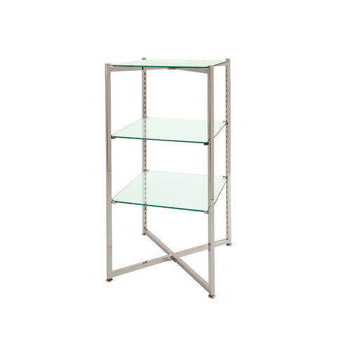 Glass Display - 37 x18 x18 - Inch Folding Glass Tower in Chrome or Brushed Chrome