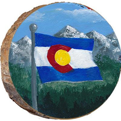 Colorado Flag with Mountains Wood Ornament