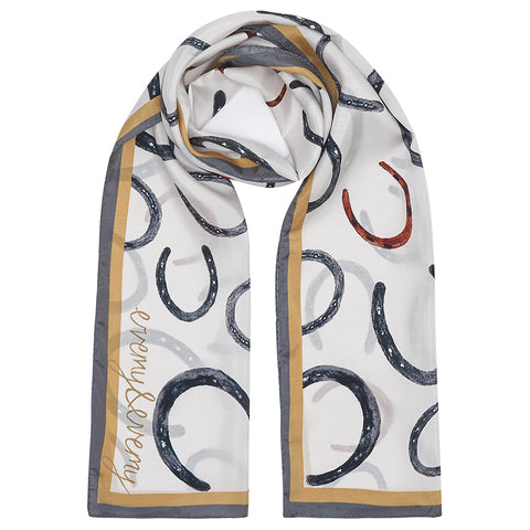 Equus - Illustrated Horseshoe Silk Scarf in Ecru
