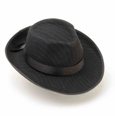 1920s Pin Striped Gangster Fedora