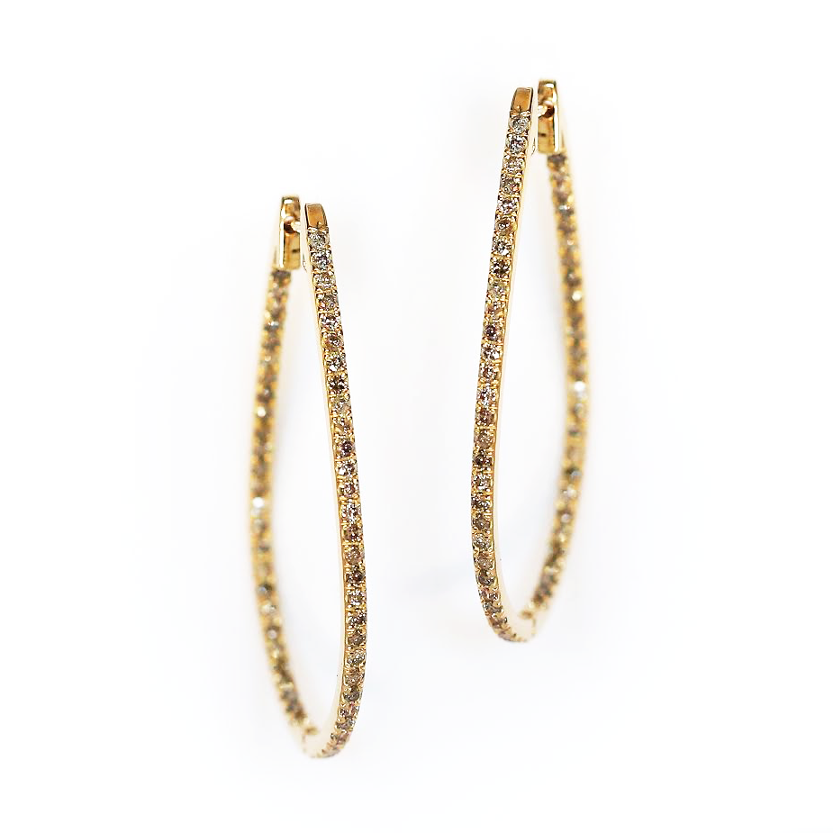 stardust 18KT inside out hoop earrings conflict free champagne diamonds by KarenAsh New York