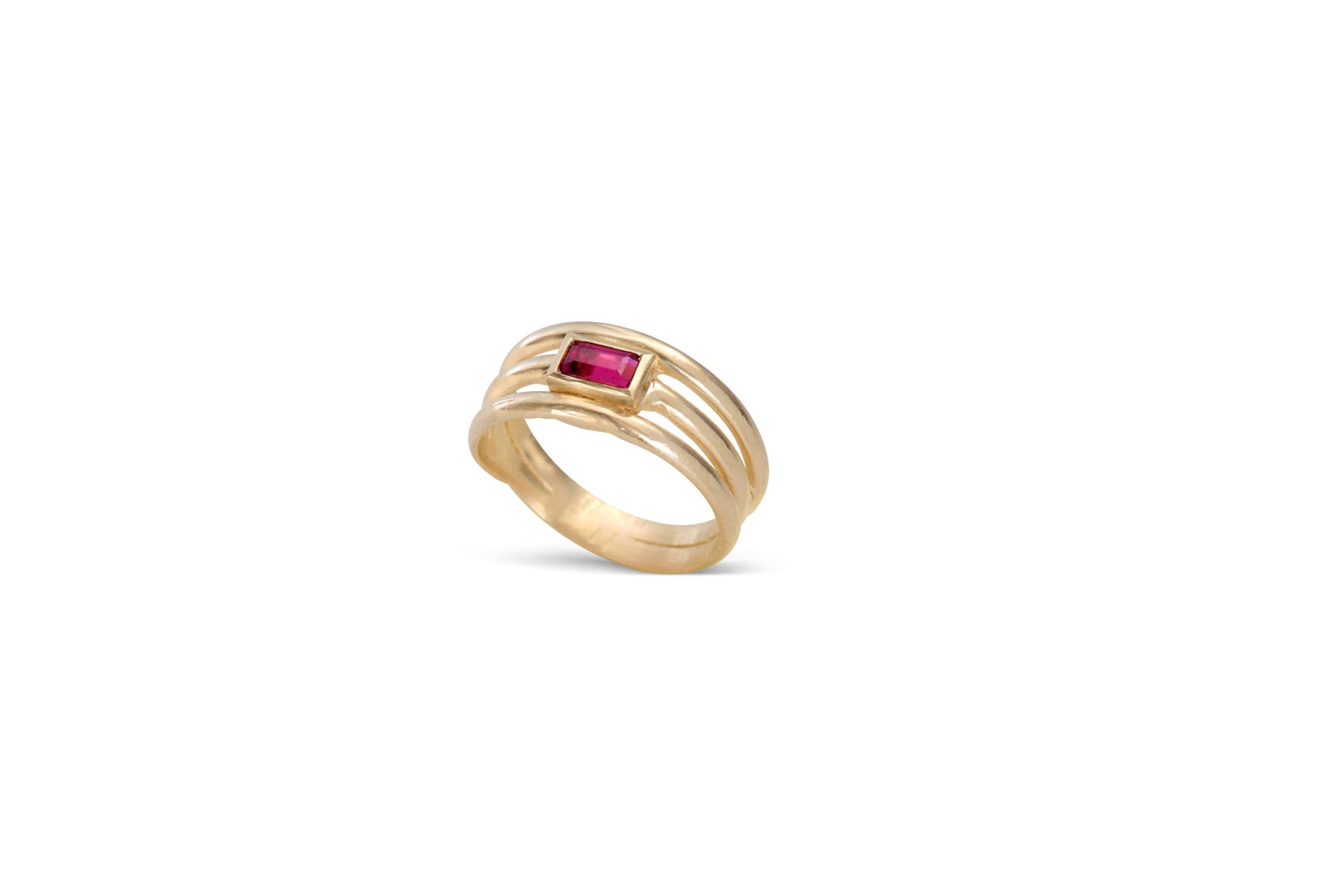 14kt yellow gold emerald cut pink tourmaline ring