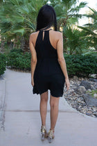 A Day In The Life Black Embroidered Halter Skater Dress 3
