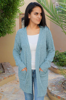 Charm Me Blue Chunky Knit Long Open Cardigan Sweater 1