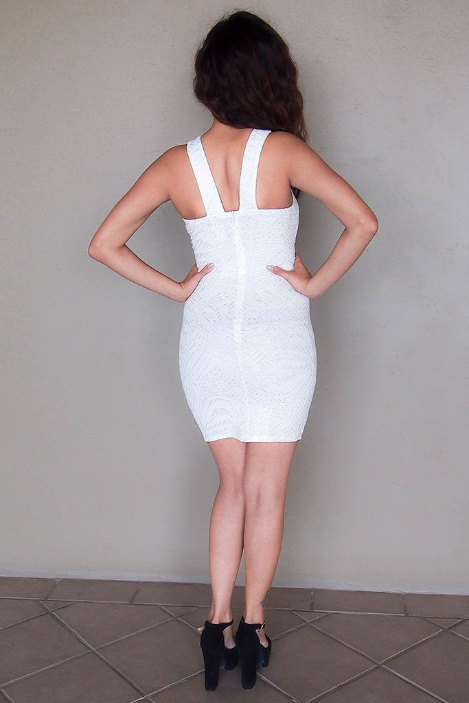Cross My Heart Off White Cutout Bodycon Mini Dress 3