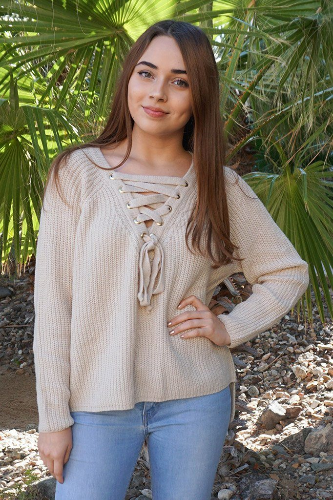Crush On You Beige Knit Lace-Up Sweater 1