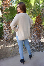 Crush On You Beige Knit Lace-Up Sweater 3