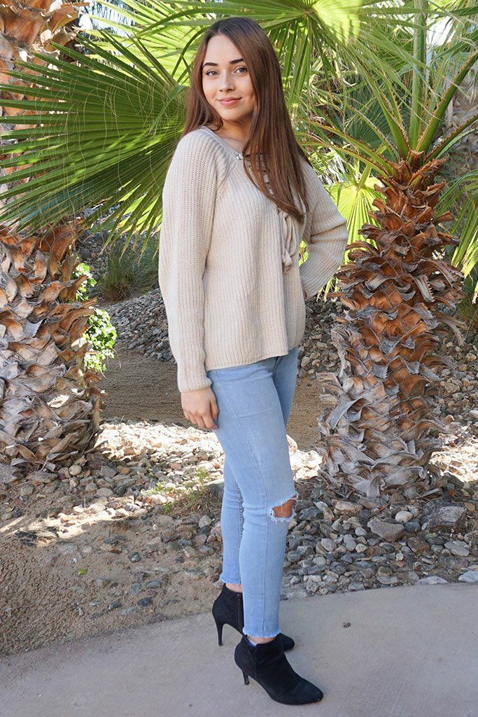 Crush On You Beige Knit Lace-Up Sweater 2