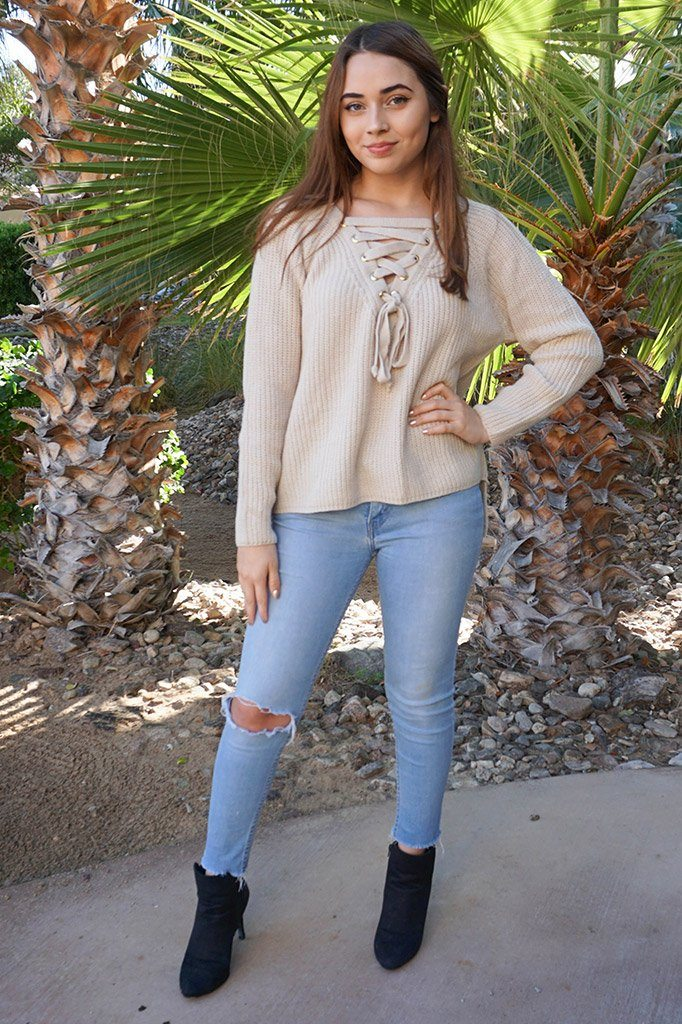 Crush On You Beige Knit Lace-Up Sweater 4