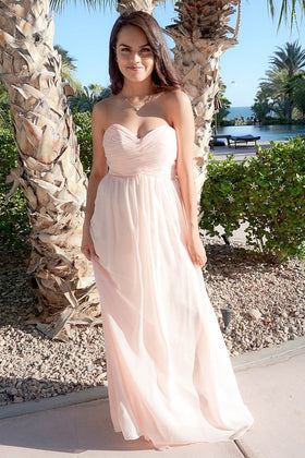 First Comes Love Blush Pink Strapless Maxi Dress 1