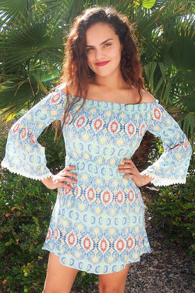 Give Me A Print Light Blue Print Off The Shoulder Dress 1