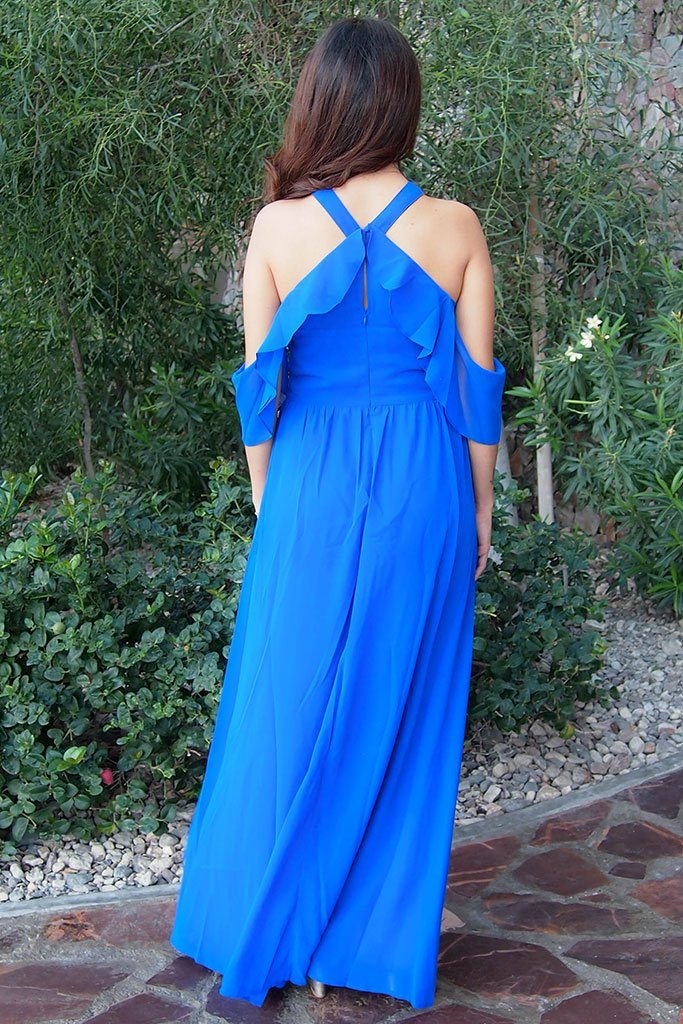 Into The Night Royal Blue Off The Shoulder Maxi Dress 2