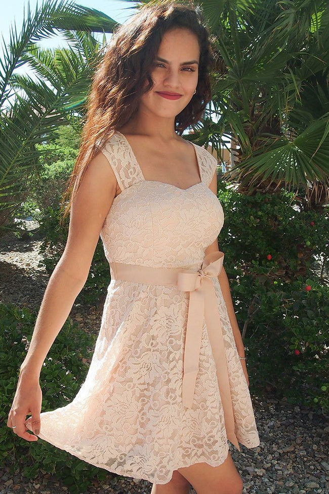 It's Now Or Never Beige Lace Skater Dress 1