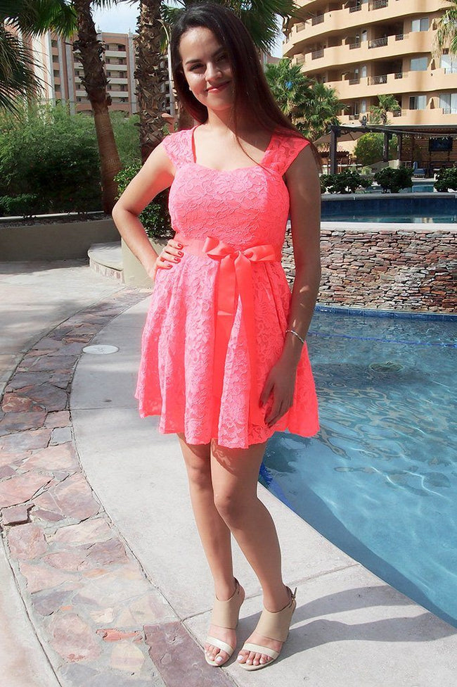 It's Now Or Never Coral Lace Skater Dress 1