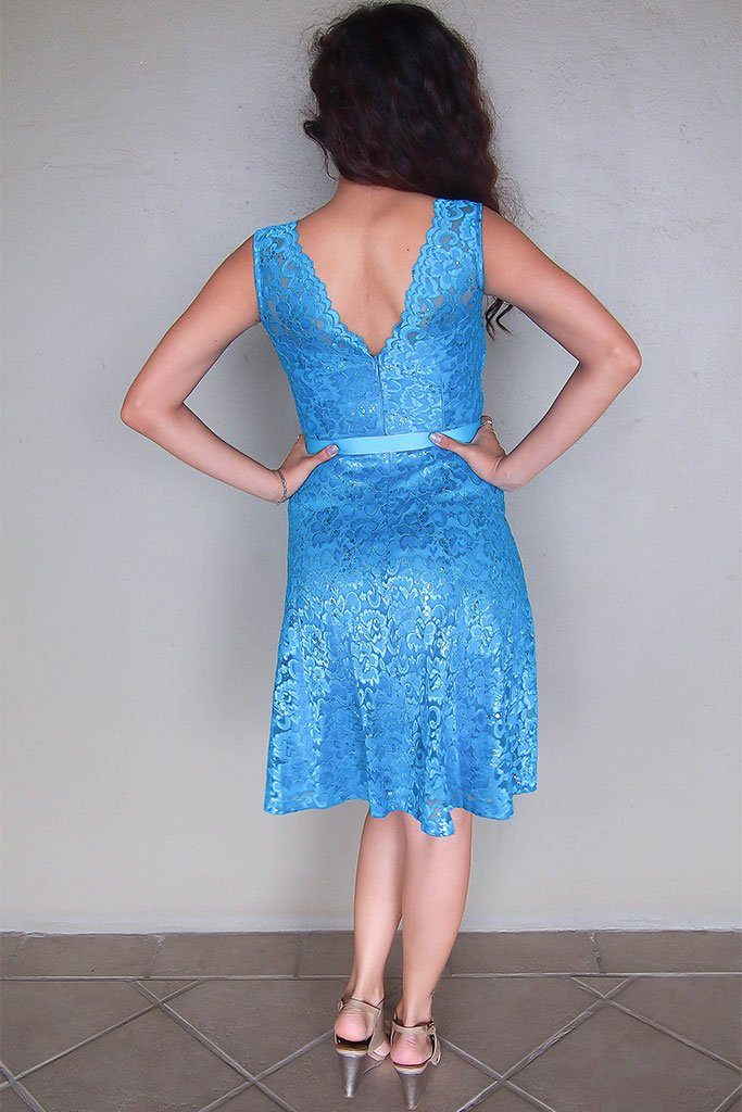 Kiss Me At Midnight Teal Blue Sequin Lace Skater Midi Dress 3