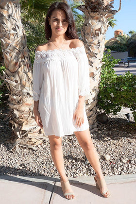 Leave Me Speechless Cream Off The Shoulder Lace Swing Dress 1