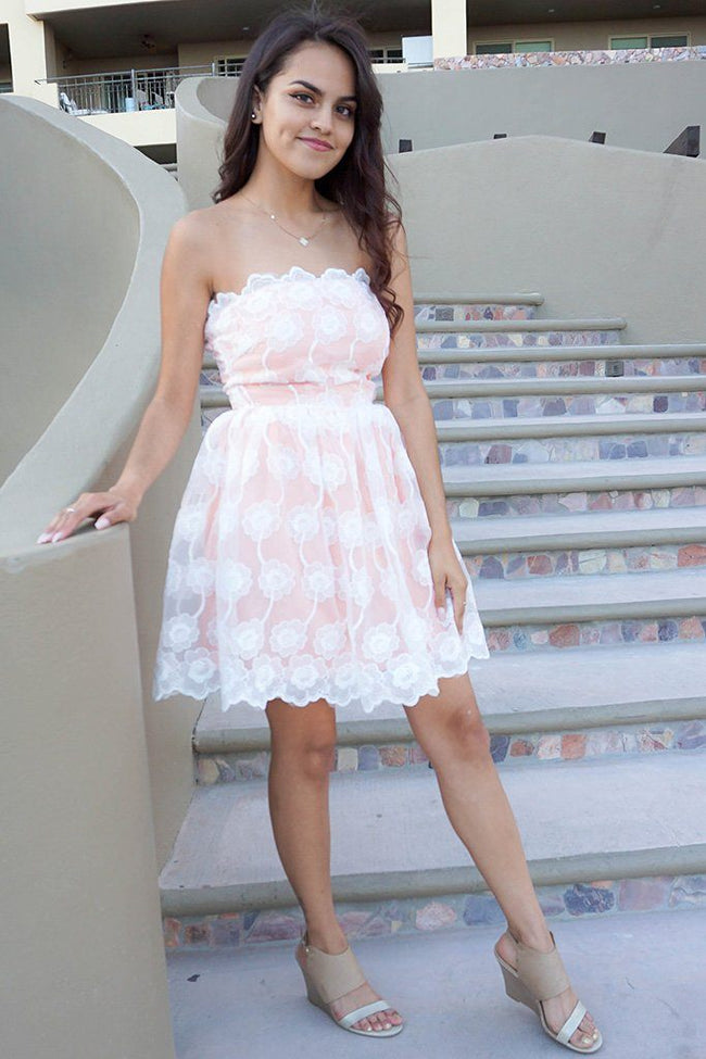 Make It Happen White Embroidered Lace Strapless Dress 1