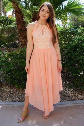 There She Goes Blush Pink Halter Maxi Dress 1