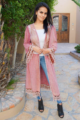 Think Of Me Mauve Pink Lace Midi Duster Cardigan 1
