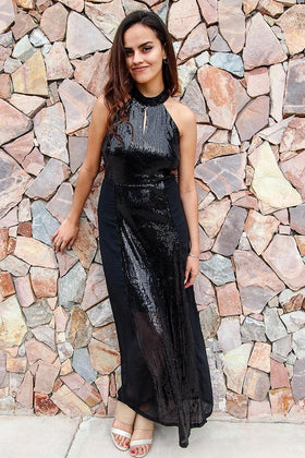 True Love Black Sequin Halter Maxi Dress 1