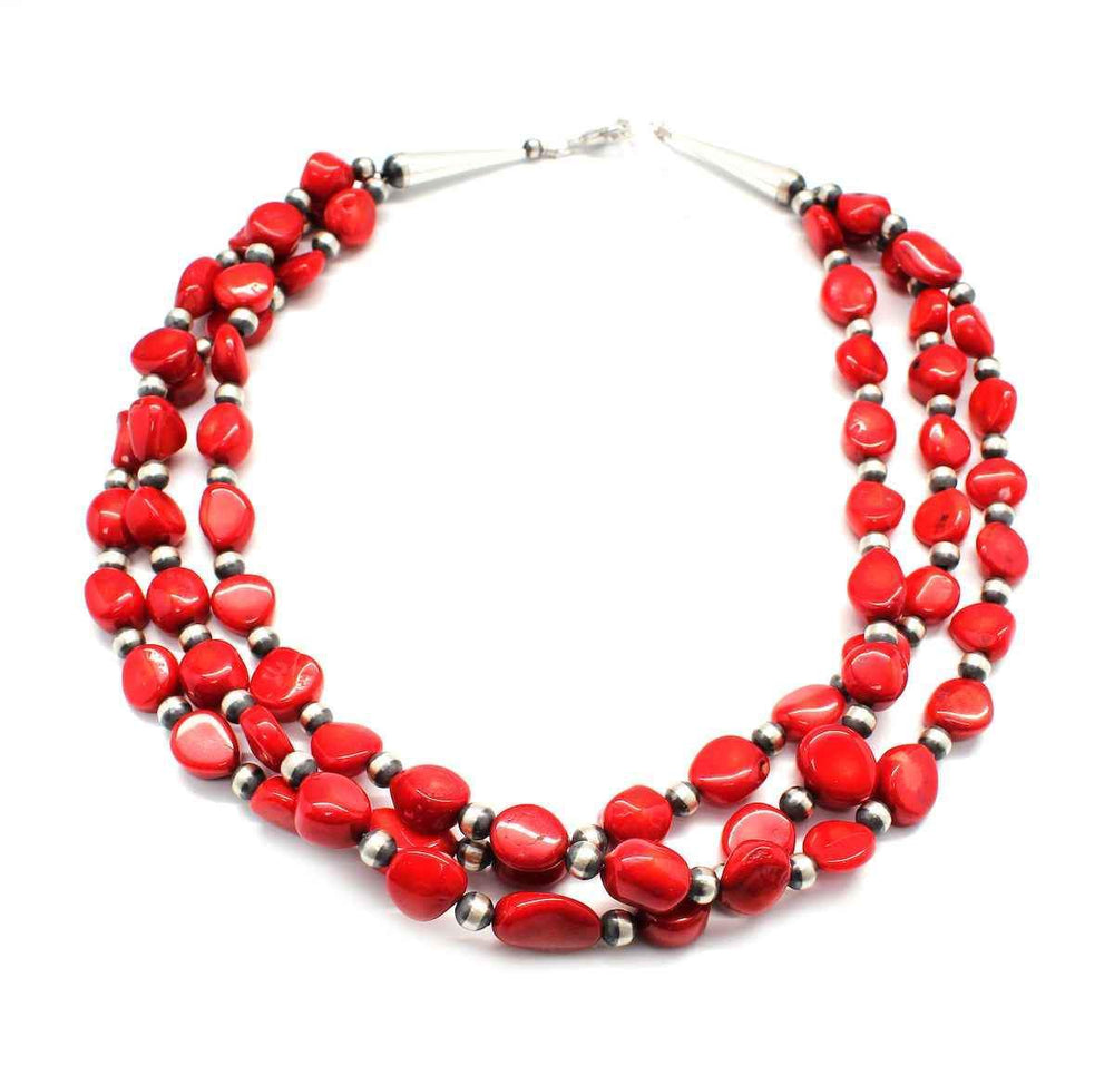 Lawrence Baca-3 Strand Bamboo Coral Bead Necklace-Sorrel Sky Gallery-Jewelry
