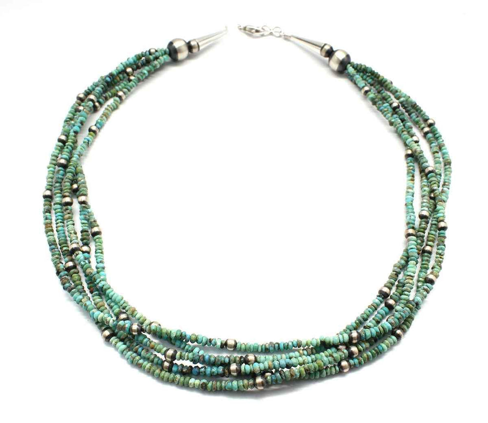 Five Strand Natural Tibetan Turquoise Necklace