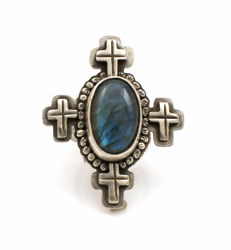 Lawrence Baca-Labradorite Ring With Crosses-Sorrel Sky Gallery-Jewelry