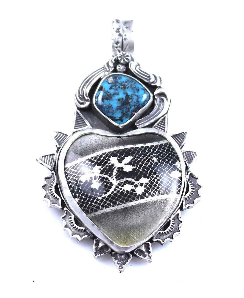 Lawrence Baca-Lace Car Heart Pendant-Sorrel Sky Gallery-Jewelry
