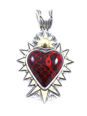 Lawrence Baca-Red Lace Car Heart Pendant-Sorrel Sky Gallery-Jewelry