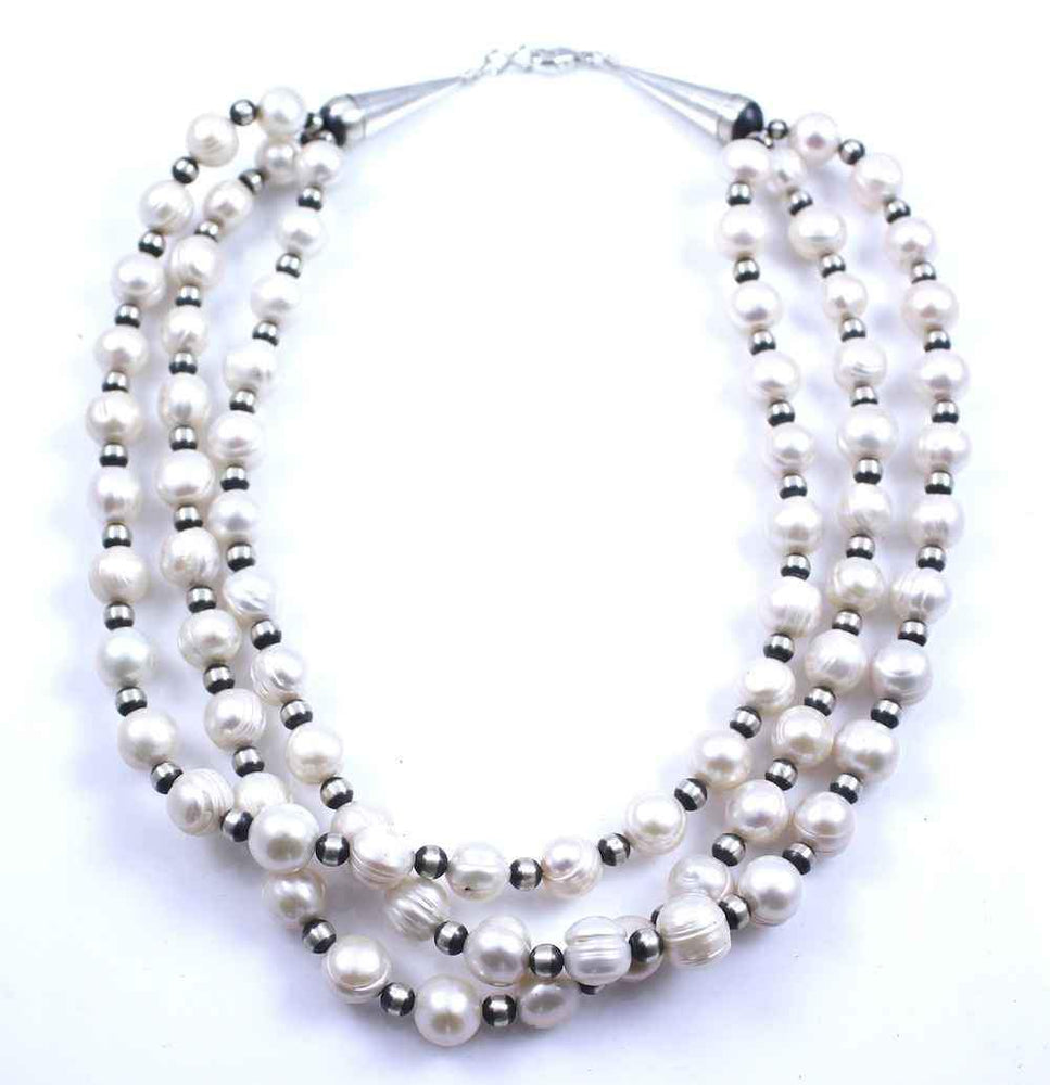Lawrence Baca-Three Strand 6mm Freshwater Pearl Necklace-Sorrel Sky Gallery-Jewelry