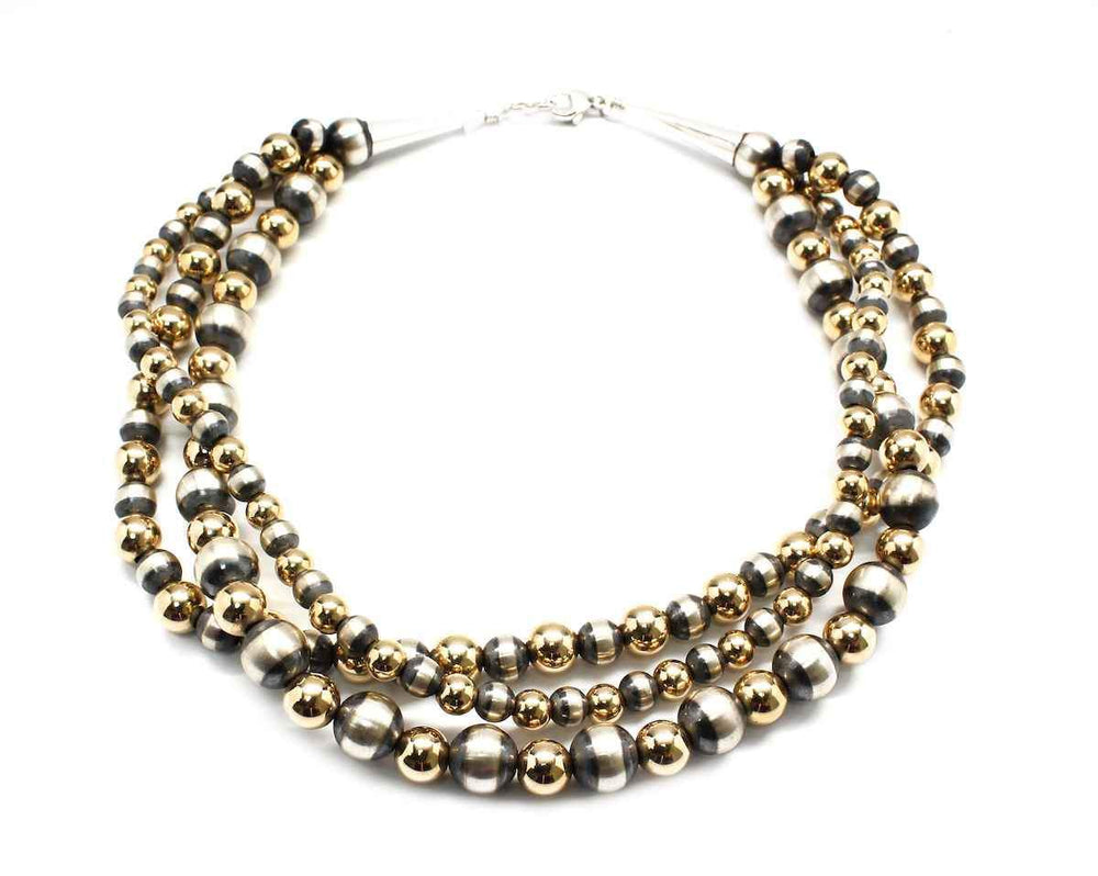 Lawrence Baca-Three Strand Silver And Gold Filled Bead Necklace-Sorrel Sky Gallery-Jewelry