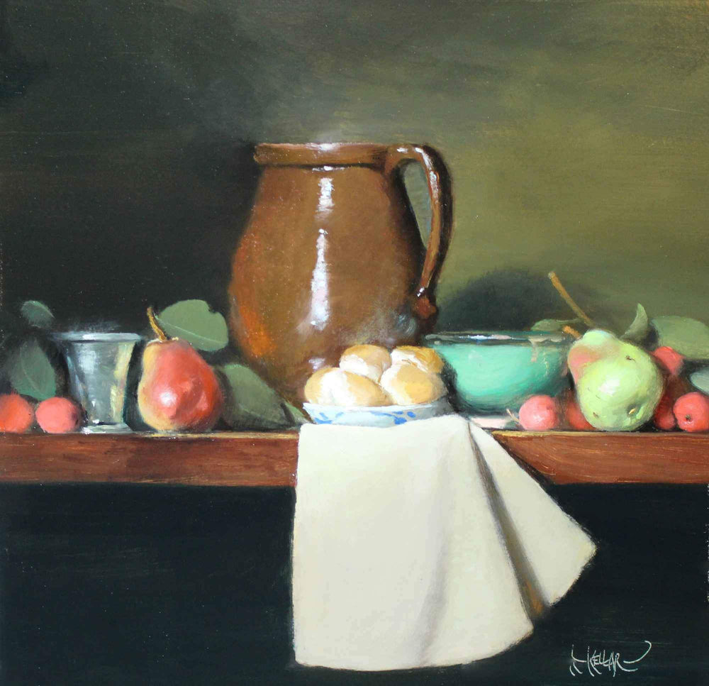 Pears And a Brown Pitcher
