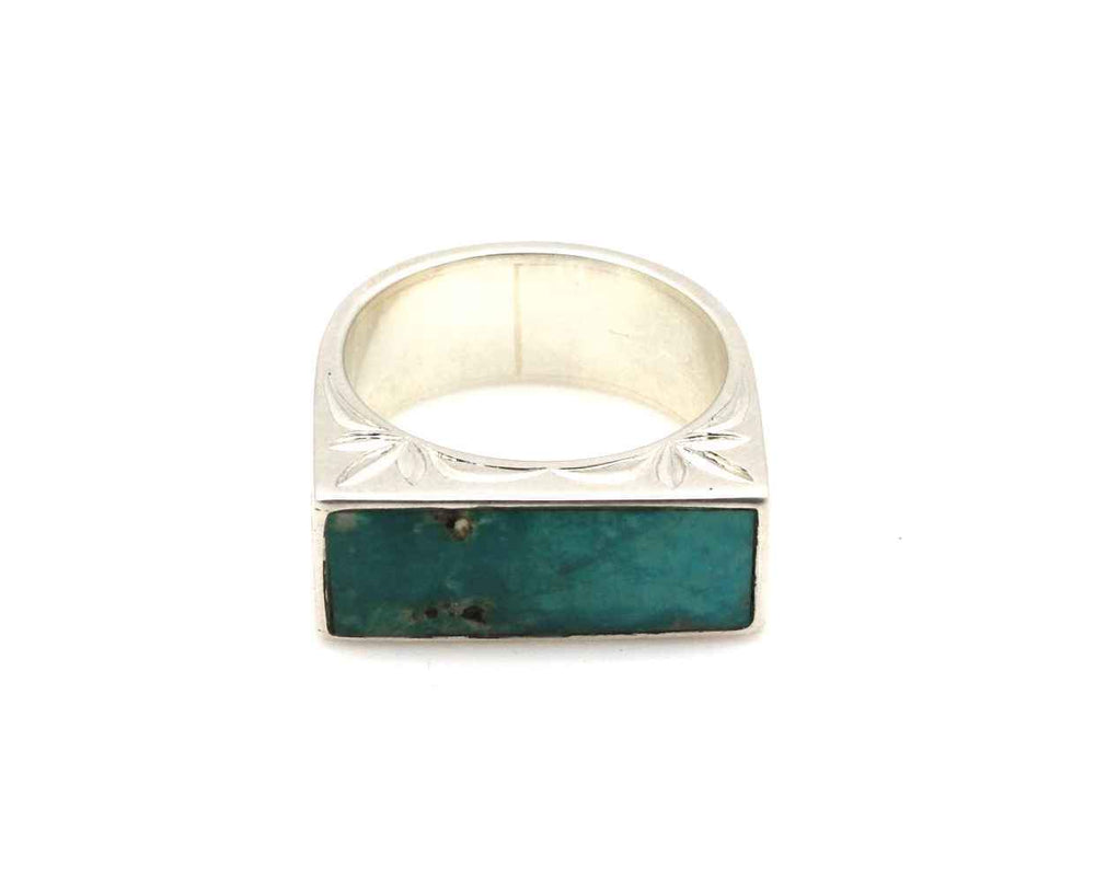 Sleeping Beauty Turquoise Engraved Ring