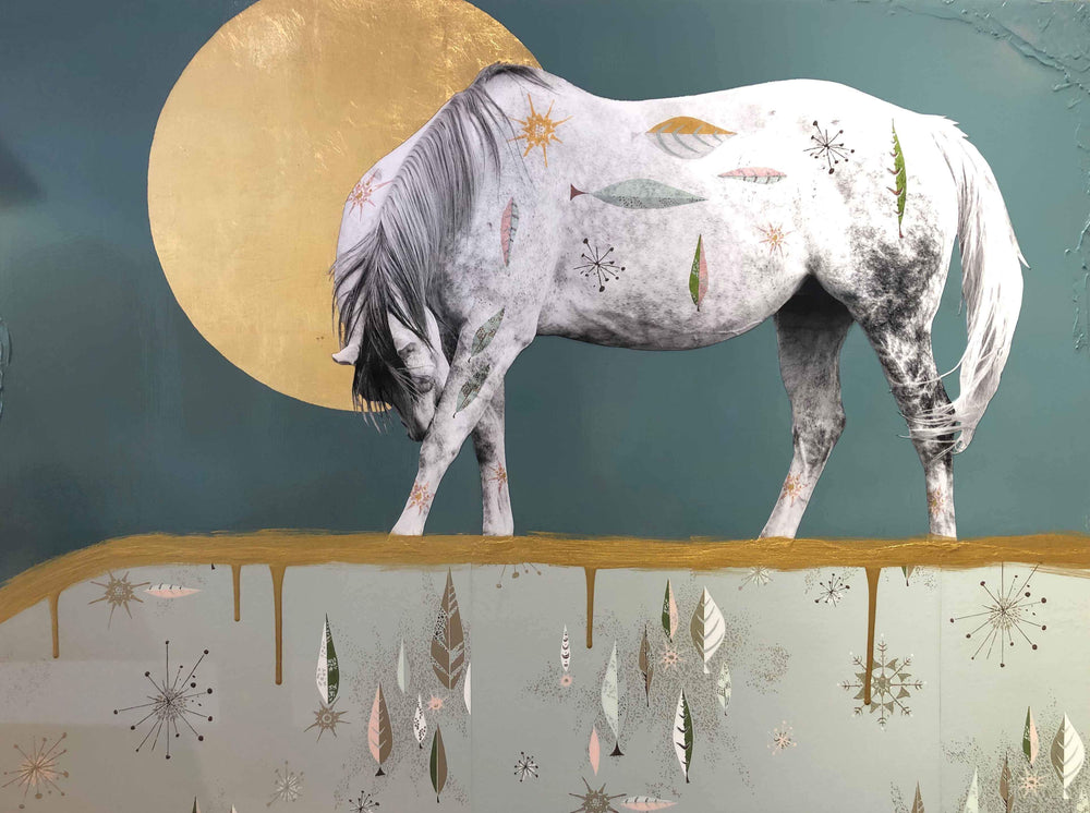 Modern painting of a horse bowing down in front of a golden full moon. Miles Glynn. Sorrel Sky Gallery