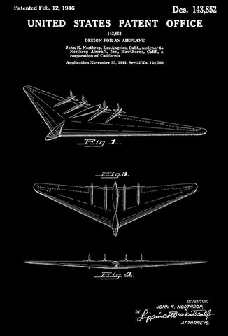 1946 - Northrop XB-35 Flying Wing Bomber Airplane - Patent Art Poster