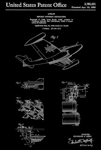 1955 - Northrop F-89 Scorpion Fighter Airplane - Rocket Jettison Mechanism - R. E. Grill - Patent Art Poster
