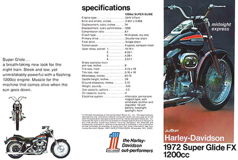 1972 AMF Harley-Davidson Super Glide FX 1200cc - Promotional Advertising Poster