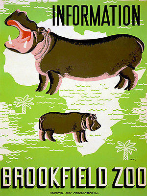 1930's Brookfield Zoo -  Travel Advertising Poster