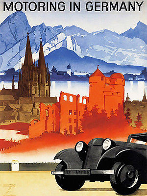 1930's - Motoring In Germany - Travel Advertising Poster