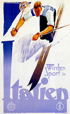 Winter Sport in Italy - 1930's - Travel Advertising Poster