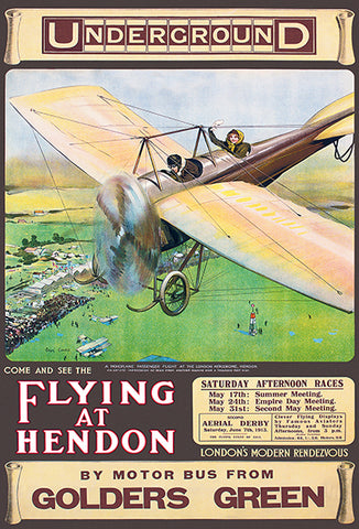 Flying At Hendon - 1913 - England - Air Races - Event Poster