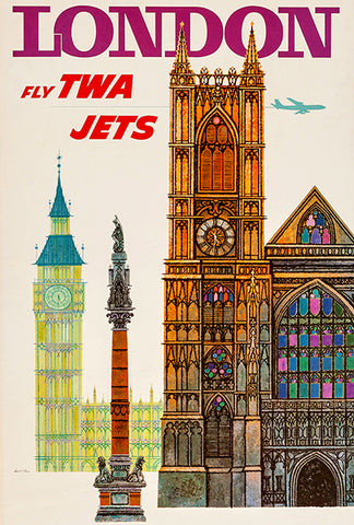 London - Fly TWA Jets - 1960's - Travel Poster